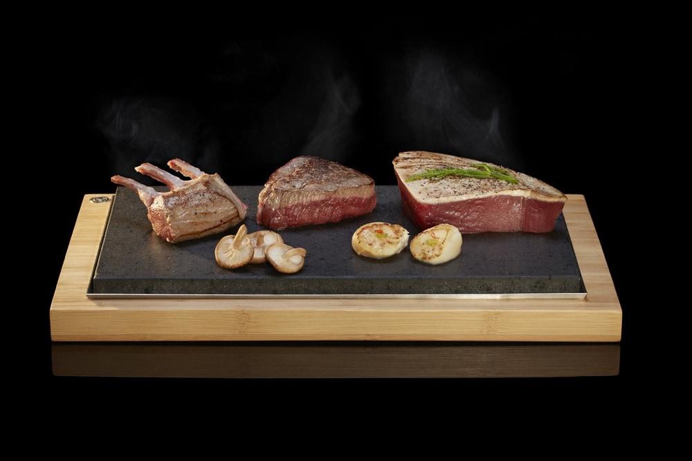 Rack of Lamb, Fillet & Tuna Steak on the Stone