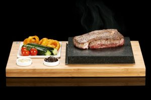 The SteakStones Steak Plate & sauces Set. The best Hot Stone Products you can find, guaranteed for life.