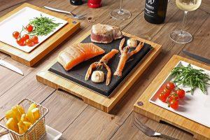 Salmon & Tuna Steak on the Stone with The SteakStones Sateak Sharer