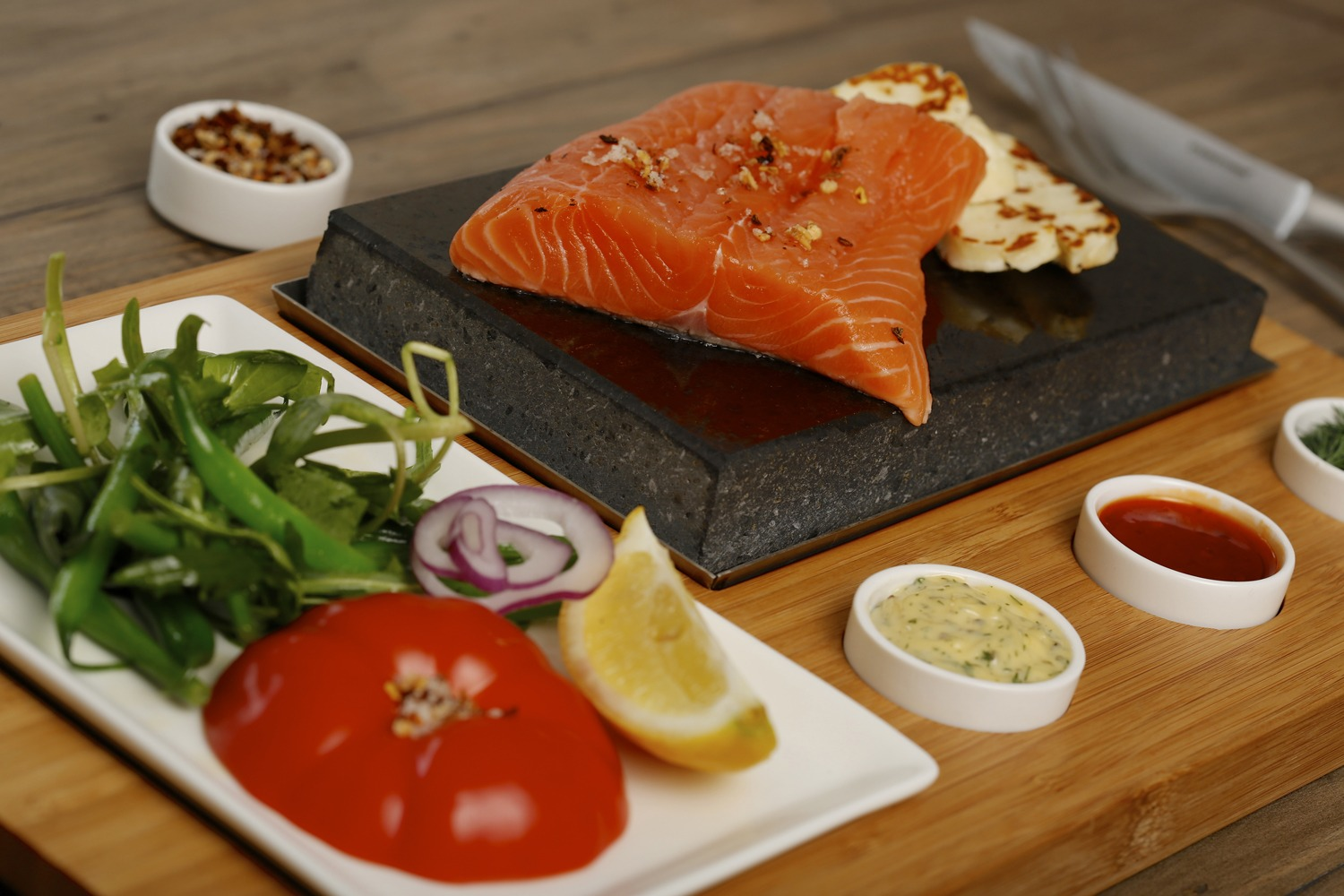 Salmon & Haloumi Cooked on the Stone. Featuring SteakStones Steak Set - the best Hot Stone Cooking Products Guaranteed