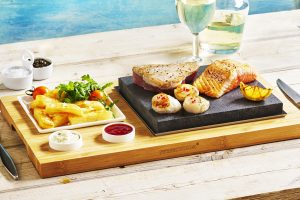 Tuna, Salmon & Scallops on the Steak Plate & Sauces Set